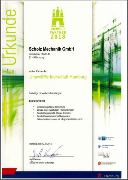 Urkunde Umweltpartner 2018