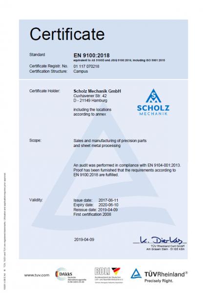 Download Zertifikat EN 9100:2018 und ISO 9001:2015