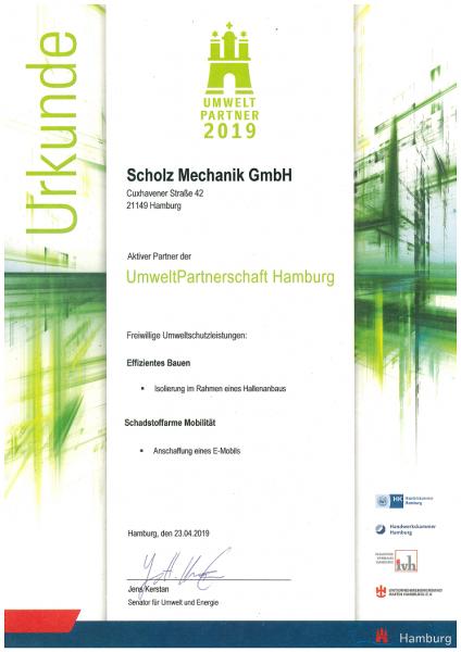 Urkunde Umweltpartner 2019